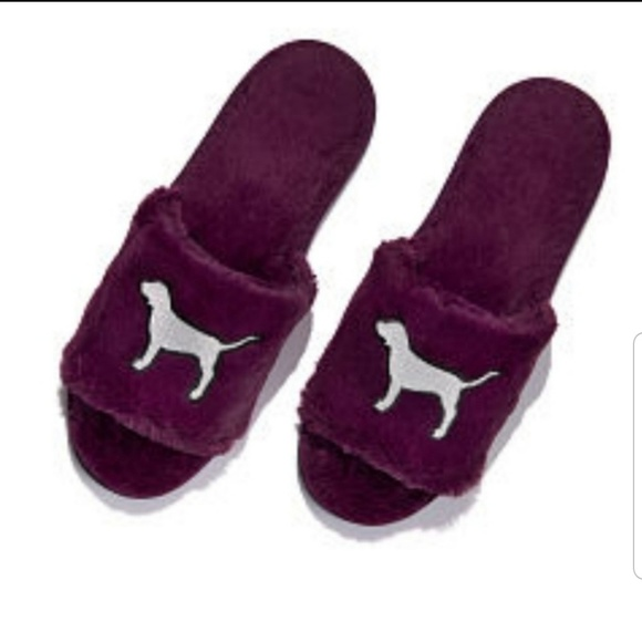 Victoria/'s Secret PINK Slippers Small Purple Sliver Dogs OPEN TOE SIZE L LARGE